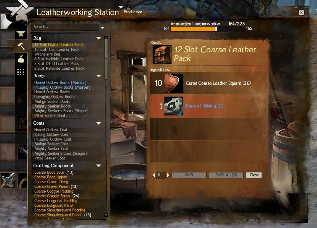 Gw How To Craft  Slot Bag